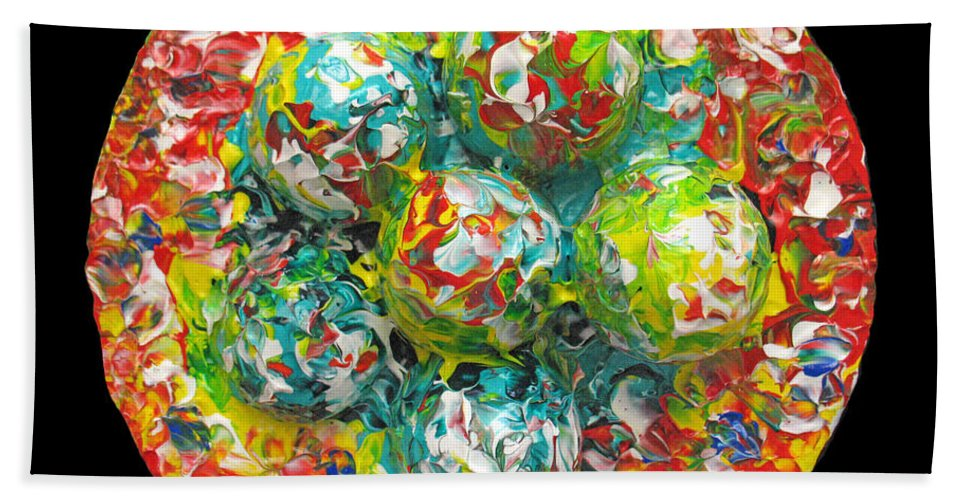Original Beach Towel featuring the painting Six Colorful Eggs On A Circle by Carl Deaville