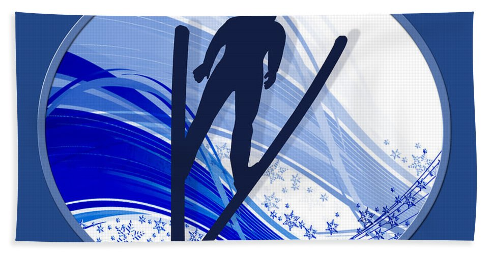 Ski Beach Towel featuring the painting Skiing And Snowflakes by Elaine Plesser
