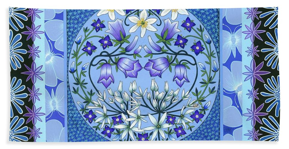 Blu. Blue And White. Blue Bell. Hare Bell. Blue Flowers. White Flowers. Wild Garlic.white Anenome. Speedwell. Butterfly. Daisy. Garden. Sky. Insects. Pattern. Tile.india. China. Panel. Square. Nature. Woodland. Floral. Flower.ecology. Wildlife. Circle. Woodland Garden. Spring. Easter Beach Towel featuring the painting Sky Garden by Isobel Brook Haslam