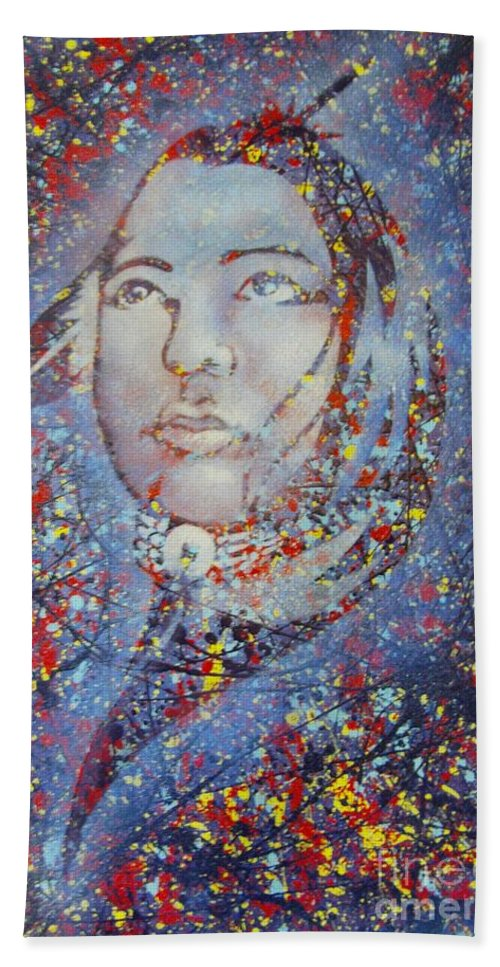 Kerdy Mitcho Beach Towel featuring the painting Sky Woman by Curtis Mitchell