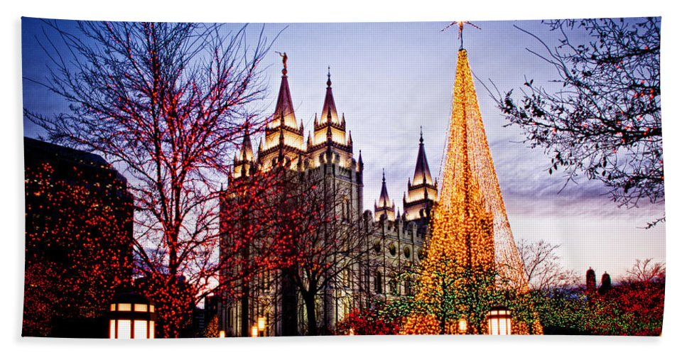 Templephotographs Beach Towel featuring the photograph Slc Temple Tree Light by La Rae Roberts