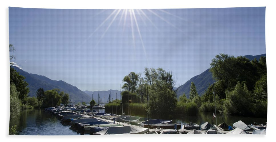 Port Beach Towel featuring the photograph Small Harbor by Mats Silvan