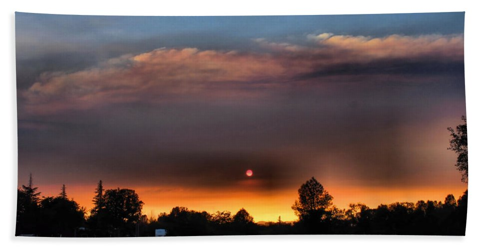 Sunset Beach Towel featuring the photograph Smoky Sunset Wide Angle 08 27 12 by Joyce Dickens