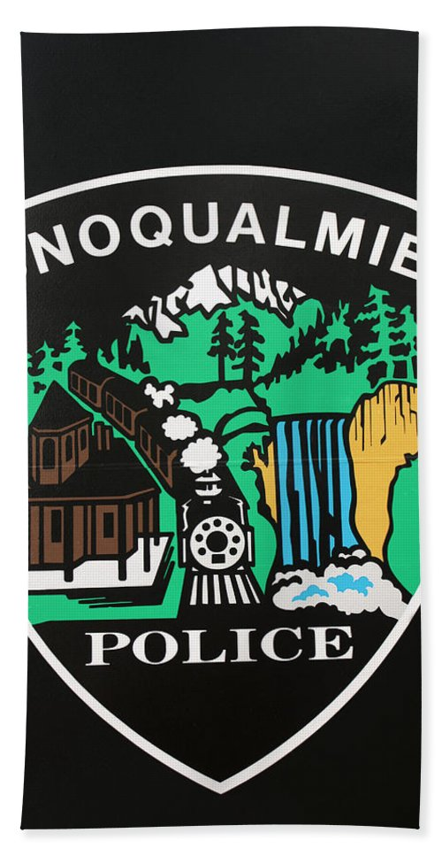 Badge Beach Towel featuring the photograph Snoqualmie Police by Kristin Elmquist