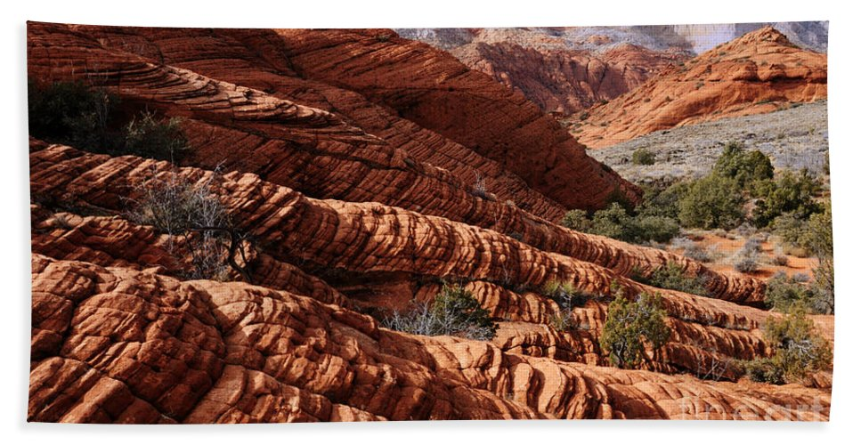 Snow Canyon Beach Towel featuring the photograph Snow Canyon 2 by Vivian Christopher