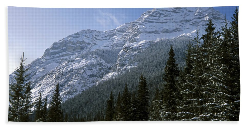 Alberta Beach Towel featuring the photograph Snow Capped Mountain by Roderick Bley