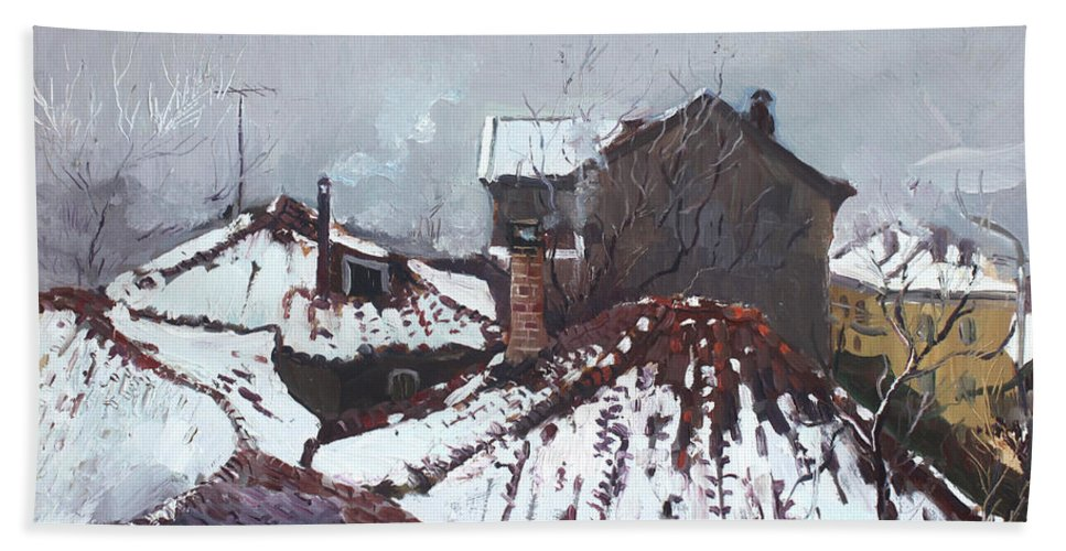 Snow Beach Towel featuring the painting Snow In Elbasan by Ylli Haruni