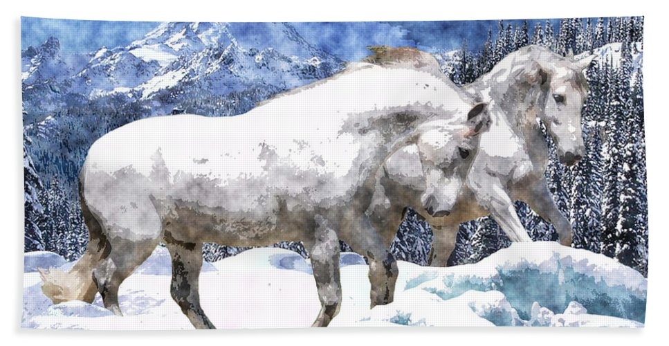 Horse Beach Towel featuring the photograph Snow Play by Vicki Podesta