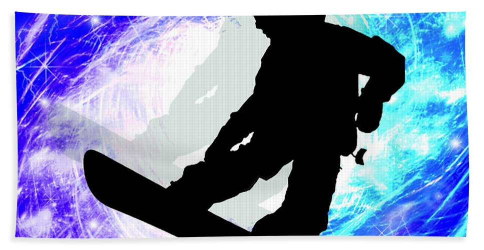 Snowboard Beach Towel featuring the painting Snowboarder In Whiteout by Elaine Plesser