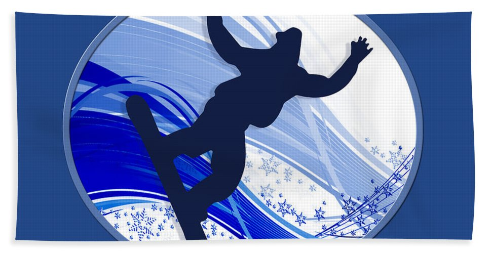 Snowboard Beach Towel featuring the painting Snowboarding And Snowflakes by Elaine Plesser