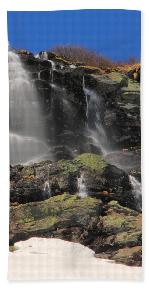 Waterfalls Beach Towel featuring the photograph Snowmelt Waterfalls In Tuckermans Ravine by Roupen Baker