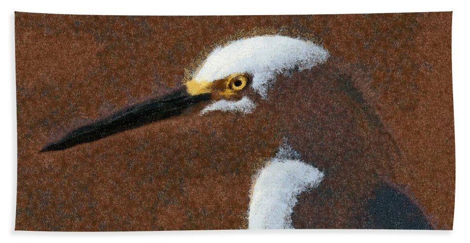 Birds Beach Towel featuring the digital art Snowy Egret Profile Painterly by Ernie Echols