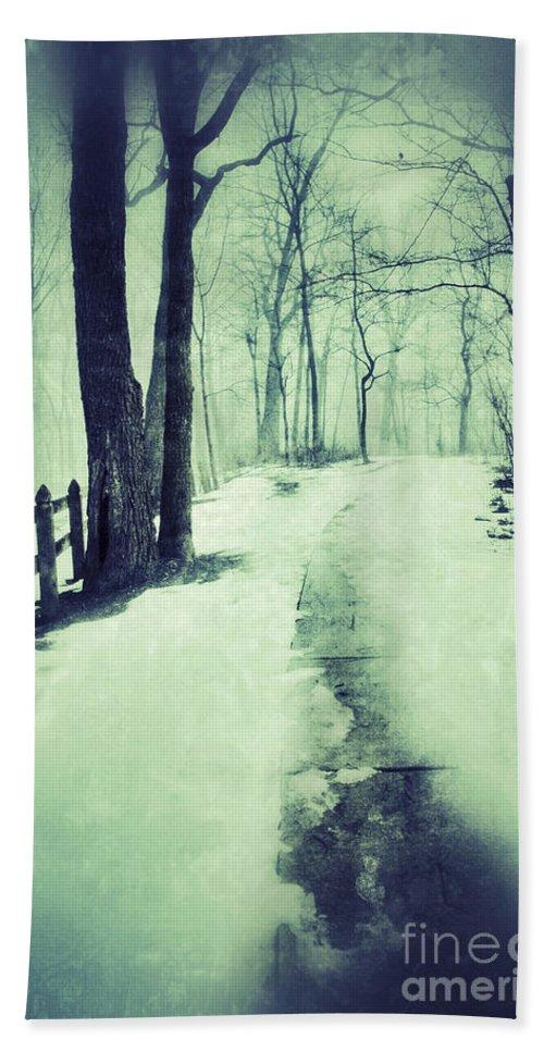 Rural Beach Towel featuring the photograph Snowy Wooded Path by Jill Battaglia
