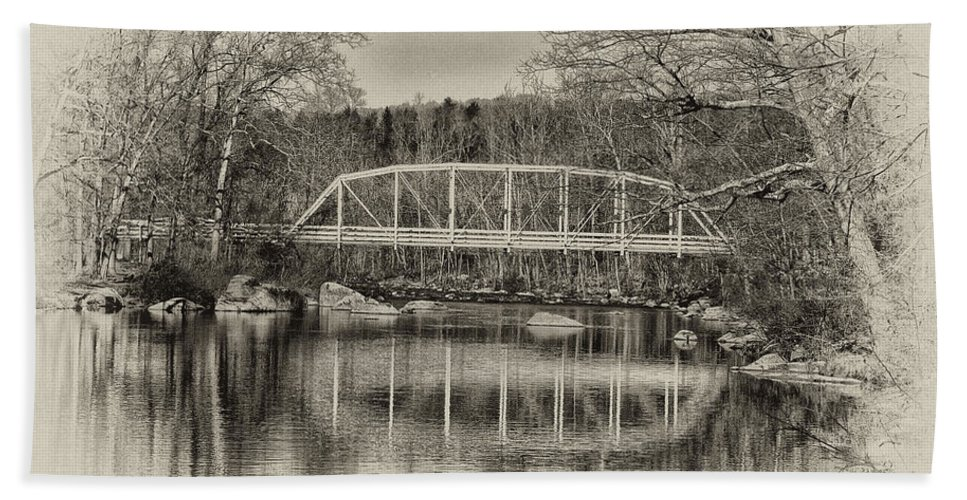 Snyder Road Bridge At Green Lane Park In Sepia Beach Towel featuring the photograph Snyder Road Bridge At Green Lane Park In Sepia by Bill Cannon