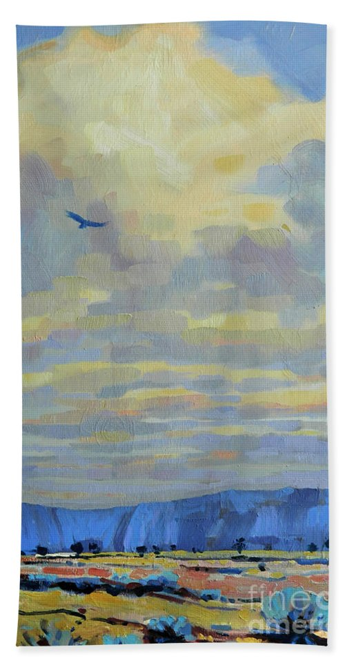 Eagle Beach Towel featuring the painting Soaring by Donald Maier