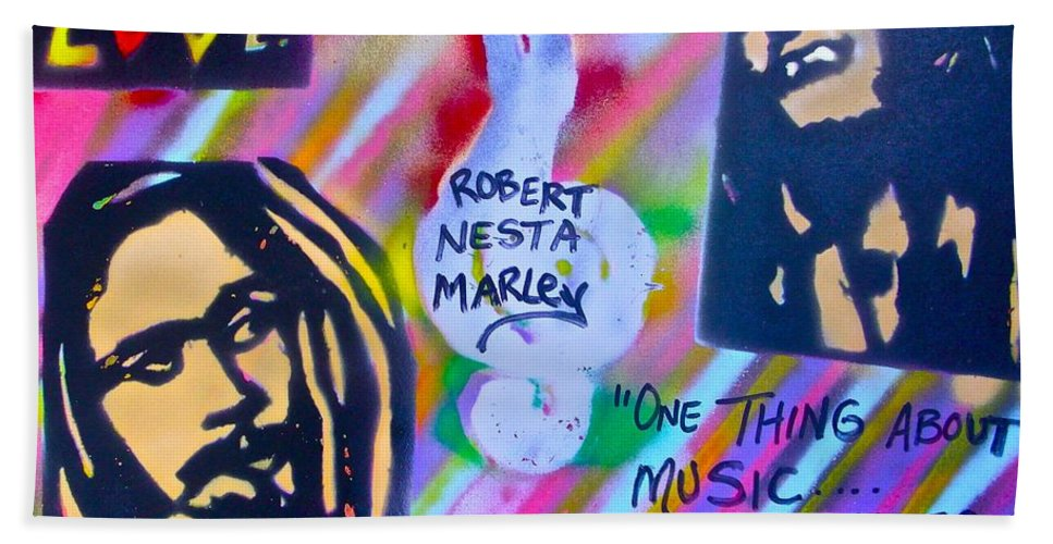 Hip Hop Beach Towel featuring the painting Soft Marley by Tony B Conscious