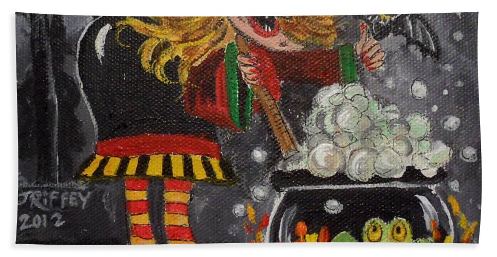 Halloween Beach Towel featuring the painting Something's Brewing by Julie Brugh Riffey