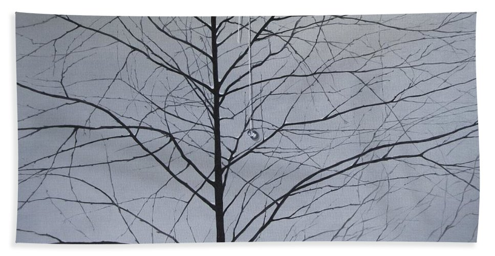 Winter Trees Beach Towel featuring the painting Sorrow by Roger Calle