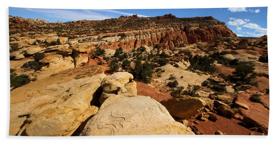 Capitol Reef National Park Beach Towel featuring the photograph South Fruita Overlook by Adam Jewell