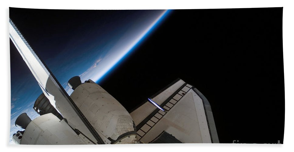 Airglow Beach Towel featuring the photograph Space Shuttle Endeavour Backdropped by Stocktrek Images