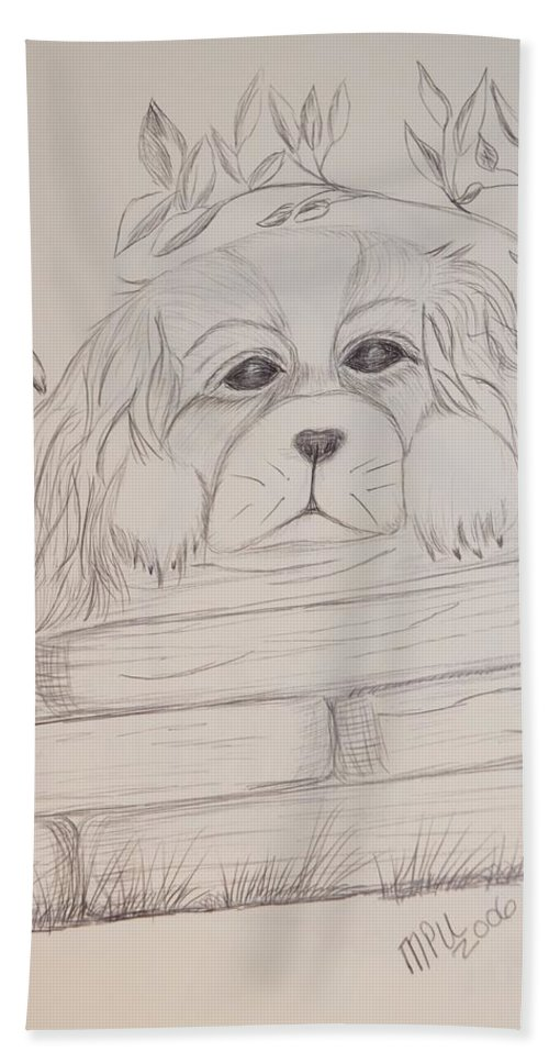 Spaniel Beach Towel featuring the drawing Spaniel Pup by Maria Urso