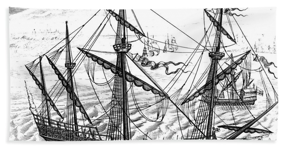 1595 Beach Towel featuring the photograph Spanish Ship, C1595 by Granger