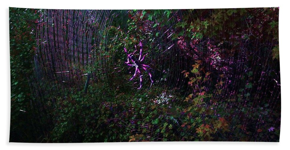 Spider Beach Towel featuring the photograph Spider Web In The Magic Forest by George Pedro