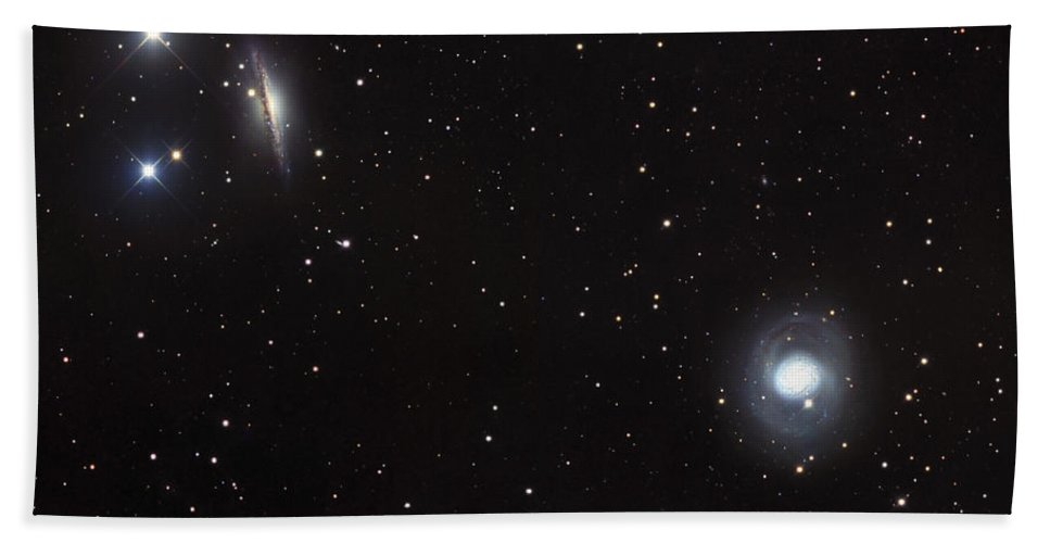 Astronomy Beach Towel featuring the photograph Spiral Galaxies Ngc 1068 And Ngc 1055 by Robert Gendler
