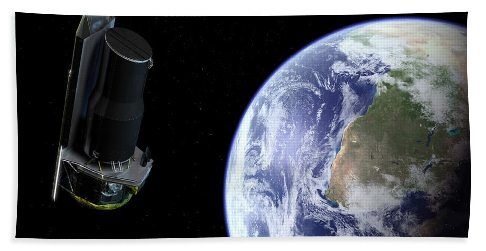 Africa Beach Towel featuring the digital art Spitzer Departing The Earth by Stocktrek Images