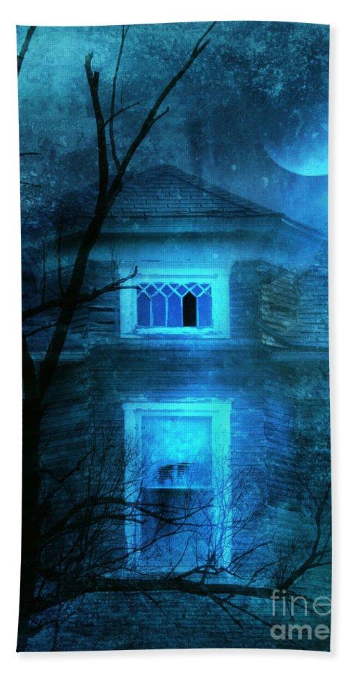 House Beach Towel featuring the photograph Spooky House With Moon by Jill Battaglia