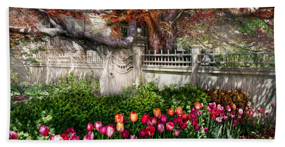 Spring Beach Towel featuring the photograph Spring - Gate - My Spring Garden by Mike Savad