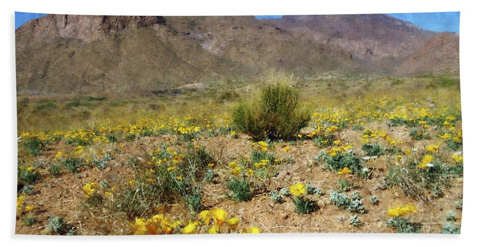 Poppy Beach Towel featuring the photograph Spring Bloom Franklin Mountains by Kurt Van Wagner