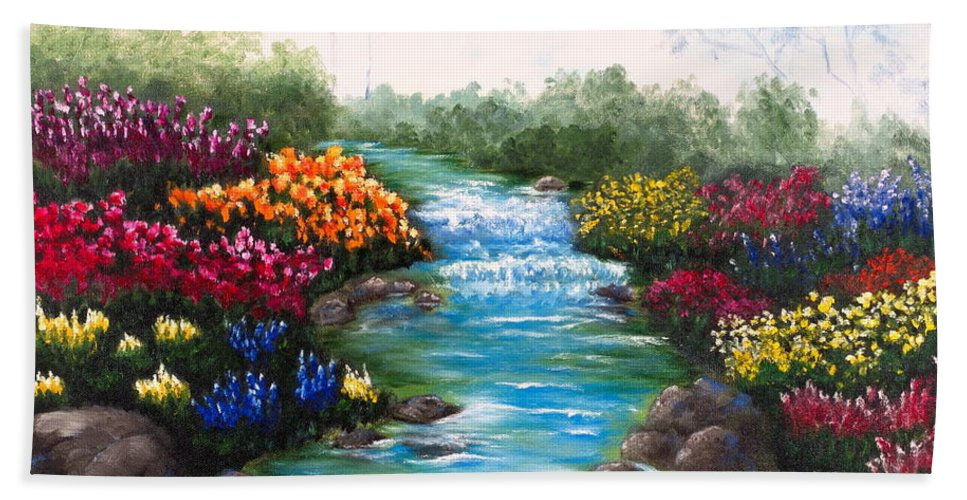 Spring Creek Beach Towel featuring the painting Spring Creek by Carly Jeanne
