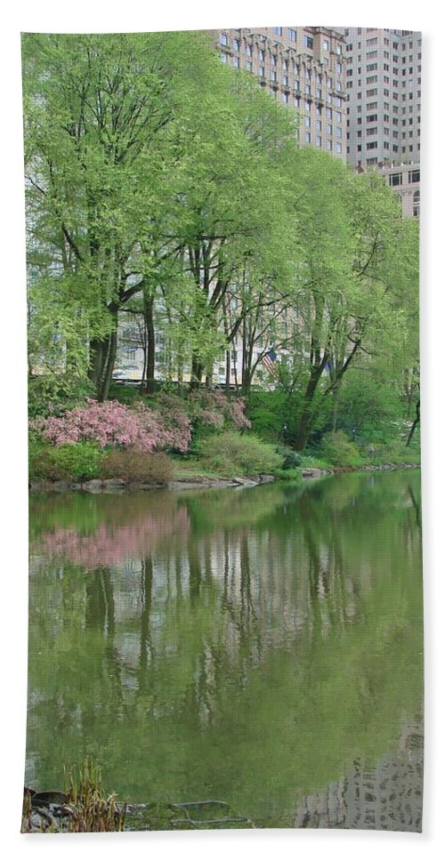 Spring Beach Towel featuring the photograph Spring Reflections Of Manhattan In Central Park by Margaret Bobb