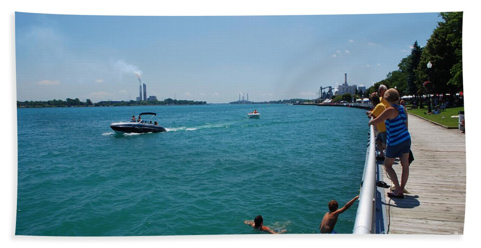 River Beach Towel featuring the photograph St. Clair River Boardwalk by Grace Grogan