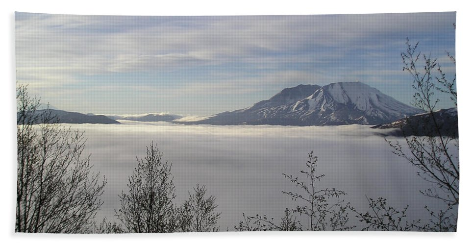 Mt St Helens Beach Towel featuring the photograph St Helens Above Clouds by Catherine Helmick