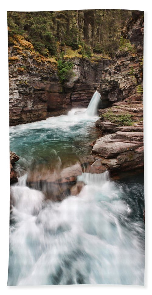 Falls Beach Towel featuring the photograph St. Mary Falls Glacier National Park by Shari Jardina