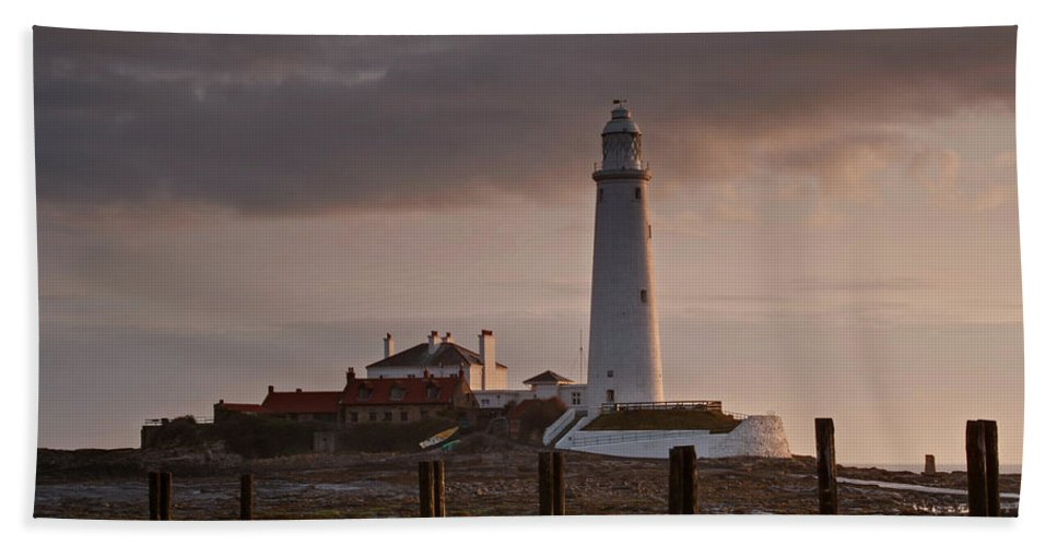 St Marys Beach Towel featuring the photograph St Marys Lighthouse After Sunrise by David Pringle