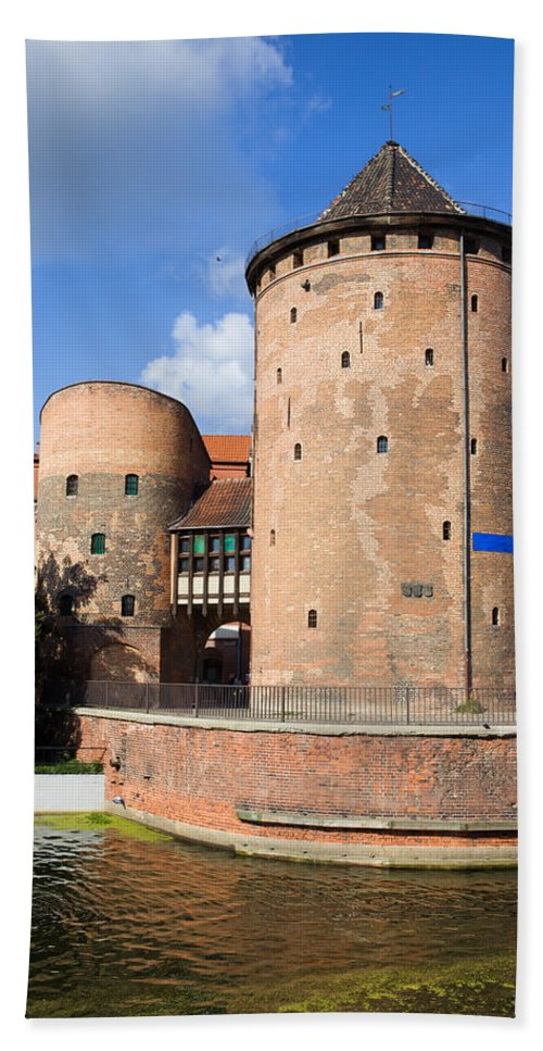 Gdansk Beach Towel featuring the photograph Stagiewna Gate Gothic Tower by Artur Bogacki