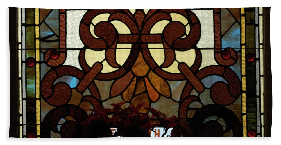 Glass Art Beach Towel featuring the photograph Stained Glass Lc 16 by Thomas Woolworth