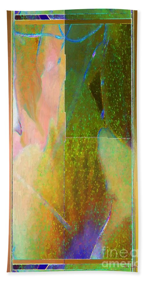 Abstract Beach Towel featuring the painting Stained Glass Shower by RC DeWinter