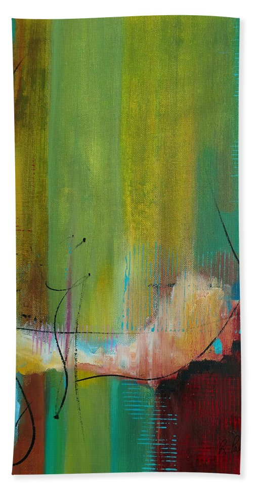 Abstract Beach Towel featuring the painting Standing In The Gap by Ruth Palmer