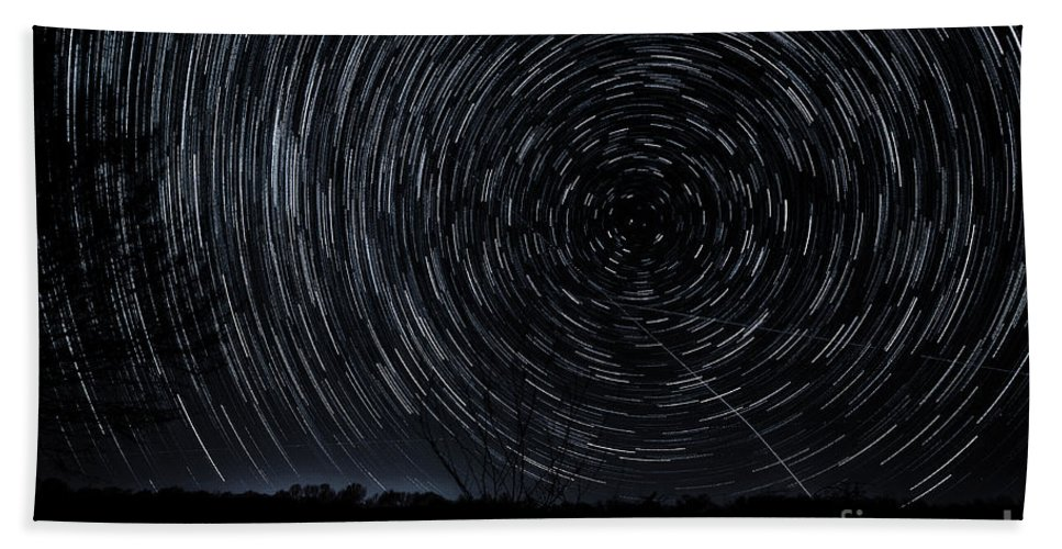 Star Trails Beach Towel featuring the photograph Star-nado by George Buxbaum