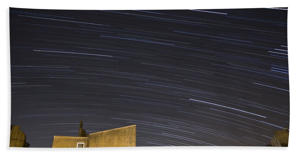 Star Beach Towel featuring the photograph Star Trails Over Ljubljana by Ian Middleton