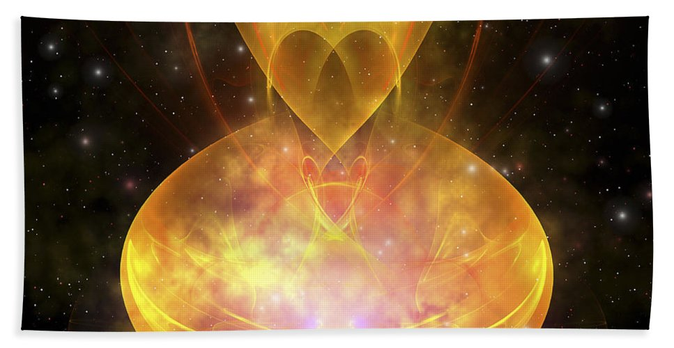 Stars Beach Towel featuring the digital art Stars Are Born In This Hourglass Shaped by Corey Ford