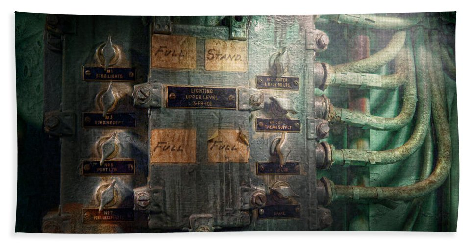 Steampunk Beach Towel featuring the photograph Steampunk - Naval - Electric - Lighting Control Panel by Mike Savad