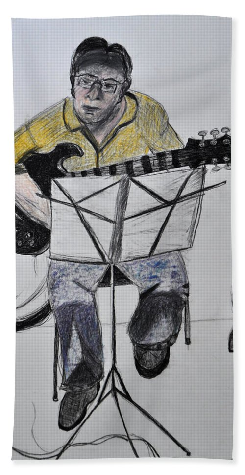 Guitar Beach Towel featuring the drawing Steve's Guitar by Mickey Krause