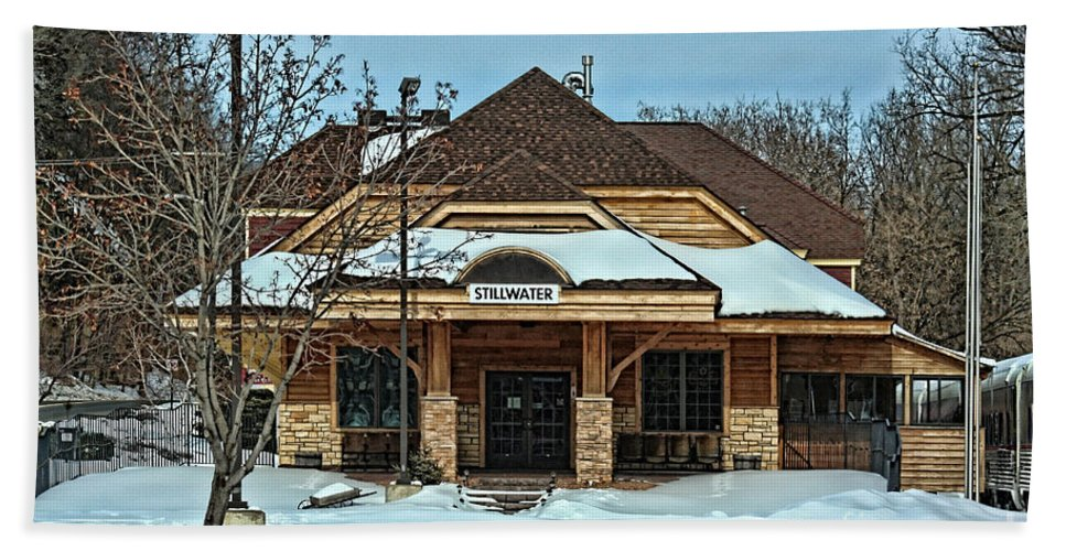 Railroad Beach Towel featuring the photograph Stillwater Mn Depot by Tommy Anderson