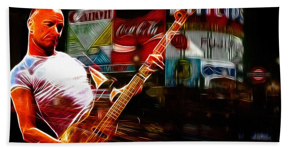 Sting Music Man Male Famous Star Police Gordon Rocks Rock Pop London Piccadilly Circus Neon Light Guitar Hero Playing Rocking Lights Bus Underground City Cityscape Beach Towel featuring the painting Sting In Concert by Steve K