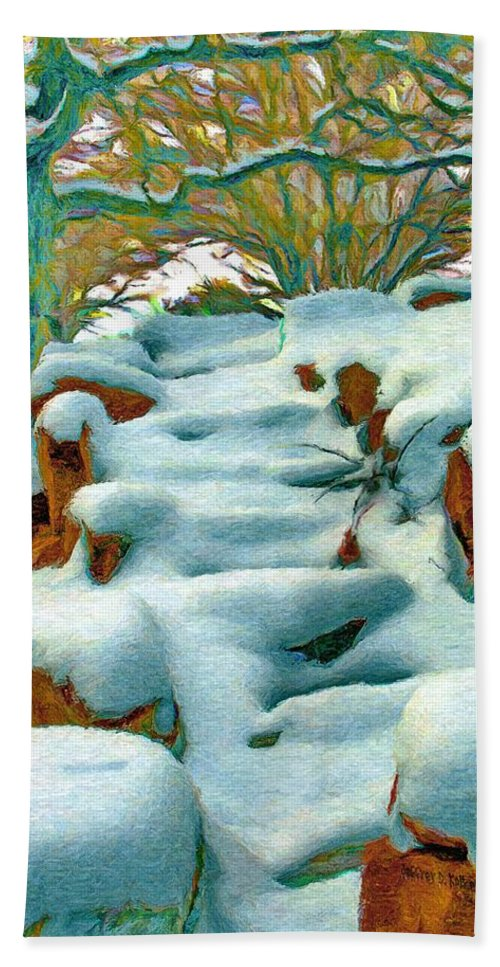 Stone Beach Towel featuring the painting Stone Steps In Winter by Jeffrey Kolker